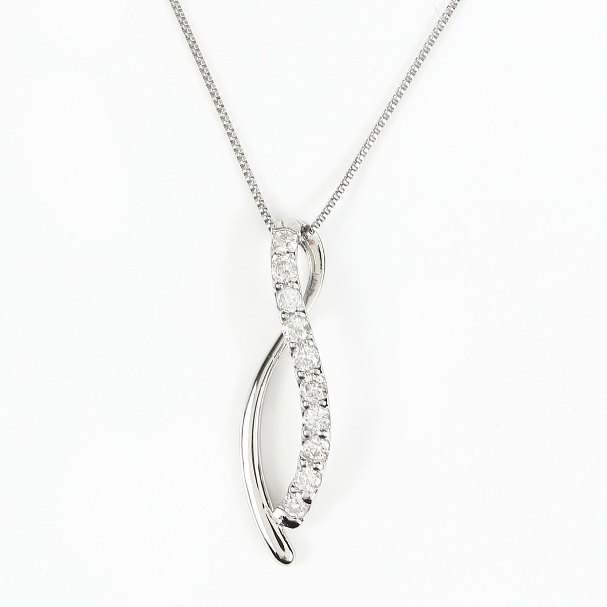 プラチナ Pt900 ダイヤモンドネックレス ダイヤ 0.2ct (Pt850 0.5mm 40cm ベネチアンチェーン)