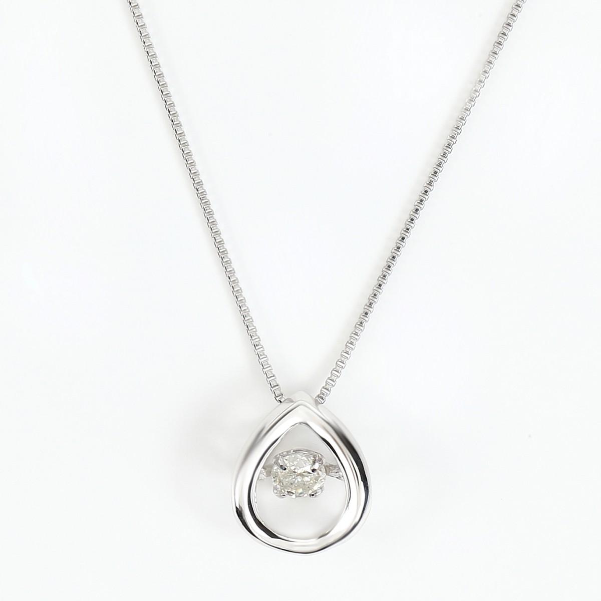 K18WG 揺れる ダンシングストーン ダイヤモンドネックレス ダイヤ 0.08ct (K18WG 0.5mm 40cm ベネチアンチェーン)