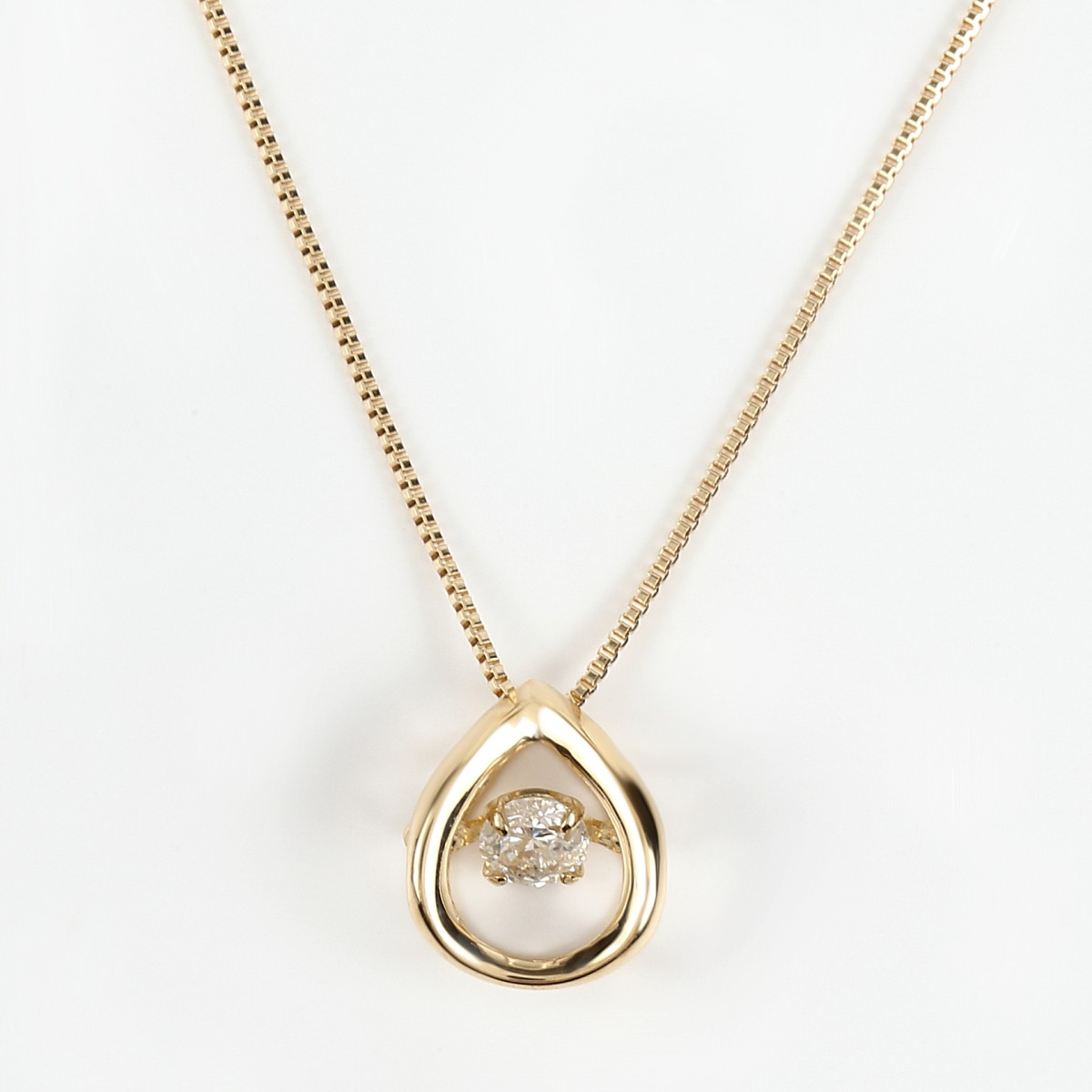 K18 揺れる ダンシングストーン ダイヤモンドネックレス ダイヤ 0.08ct (K18 0.5mm 40cm ベネチアンチェーン)