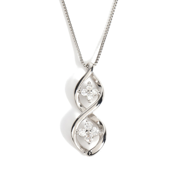 プラチナ900 ダイヤモンド ネックレス  ダブルフラワー