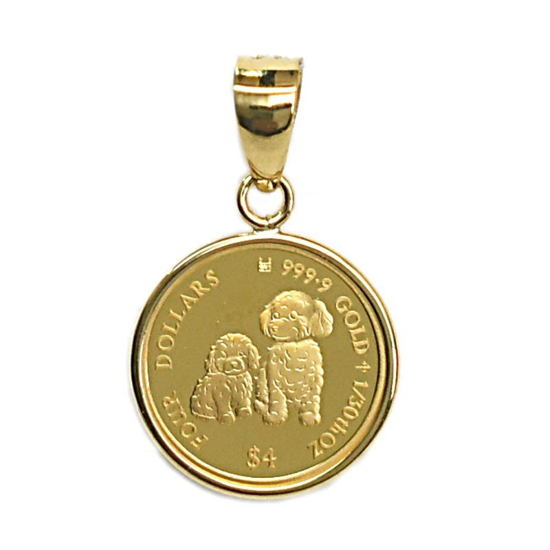 2020 Mother's Love Coin Dogs ドック DOGs×エリザベス女王 1/30オンス(純金) コイン K18枠付きペンダントトップ(トイプードル)