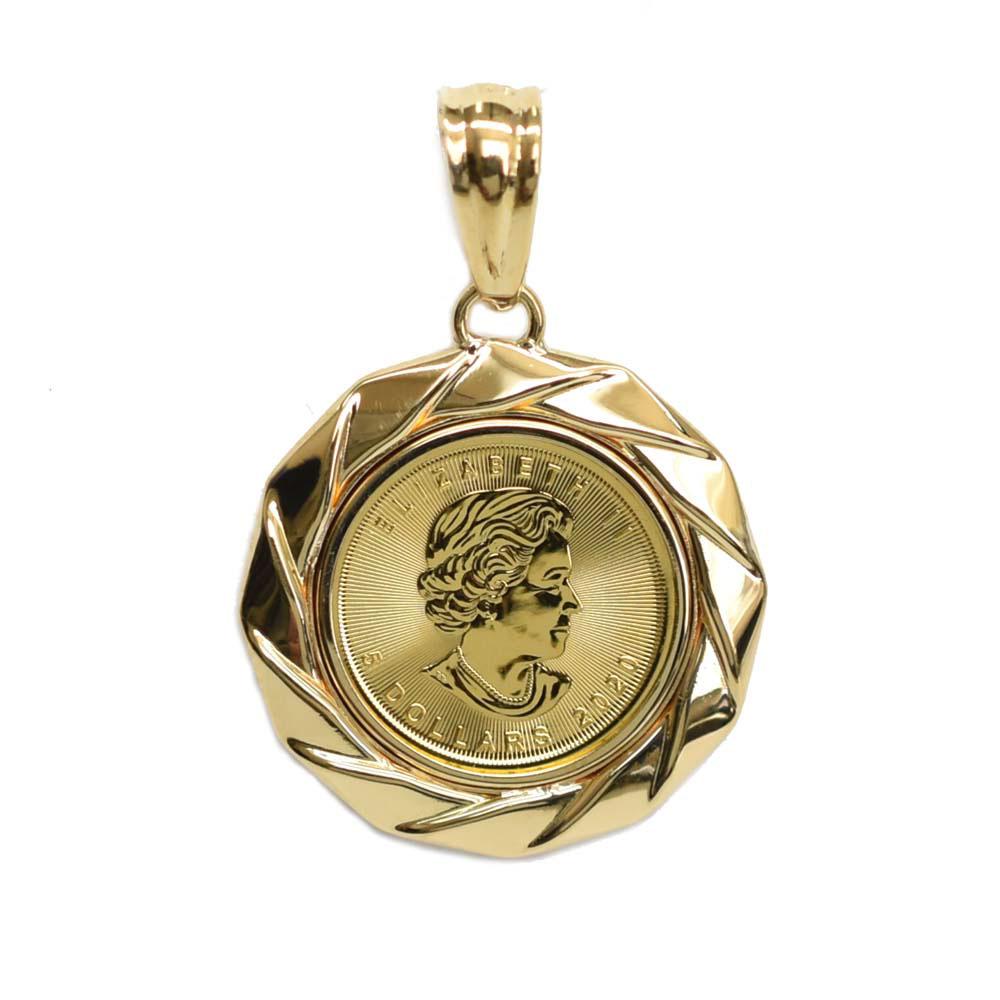 送料無料 K24 純金 人気のメイプルリーフ金貨 ペンダントトップ 1 K18枠 10oz 低価格 お見舞い