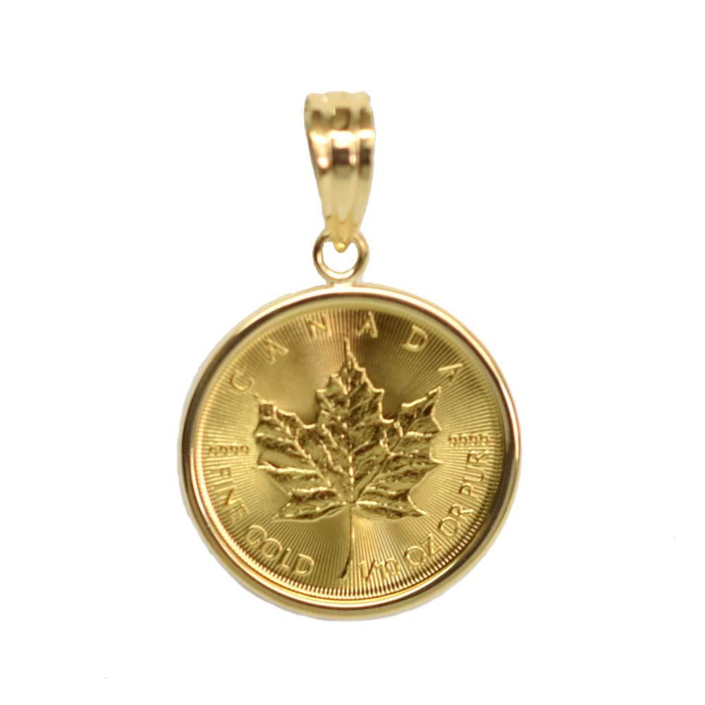 送料無料 K24 純金 人気のメイプルリーフ金貨 ペンダントトップ K18枠 返品不可 10oz 1 割引