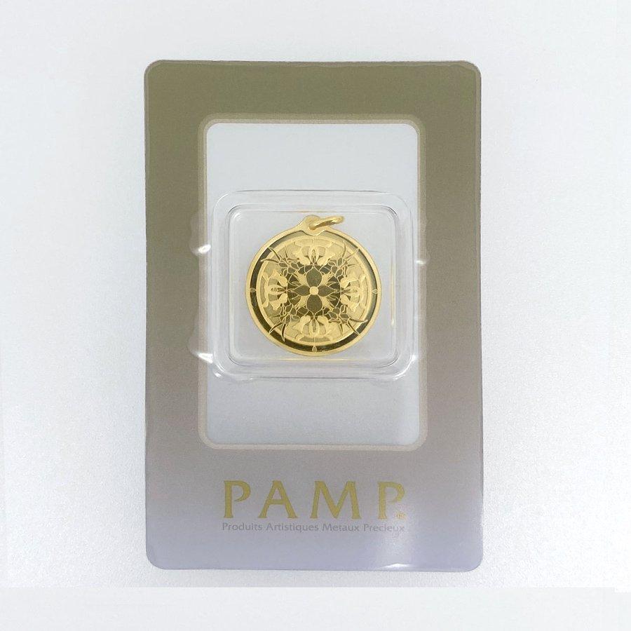 PAMP 純金 K24 1/4オンス 1/4oz  約7.7g ステンドグラス 扇型の中にクジャク バチカン一体型(バチカンも純金です)