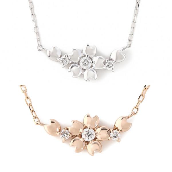 K18 18金 0.04ct ダイヤモンドネックレス サクラ 桜デザイン