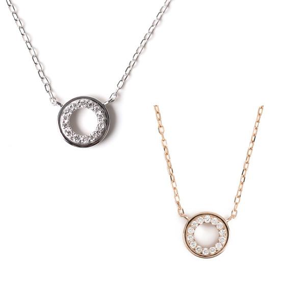 K18 18金 0.04ct ダイヤモンドネックレス サークルデザイン