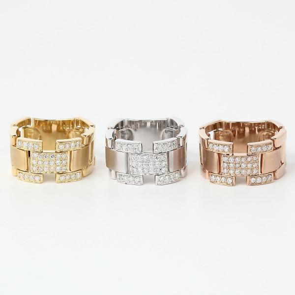 K18 ダイヤモンド 0.25ct ベルトリンク_【3つのカラーからお選びください。】【サイズによって納期が変わります】