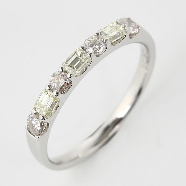 プラチナ900 Pt900 ベリーライトイエローダイヤモンド 0.7ct エメラルドカット ハーフエタニティーリング (鑑別書付き)