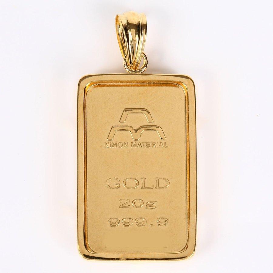 あすつく対応 送料無料 24金 純金 日本マテリアル 受注生産品 ゴールドバー+専用ペンダント枠 インゴット シルバー925 20g メーカー在庫限り品