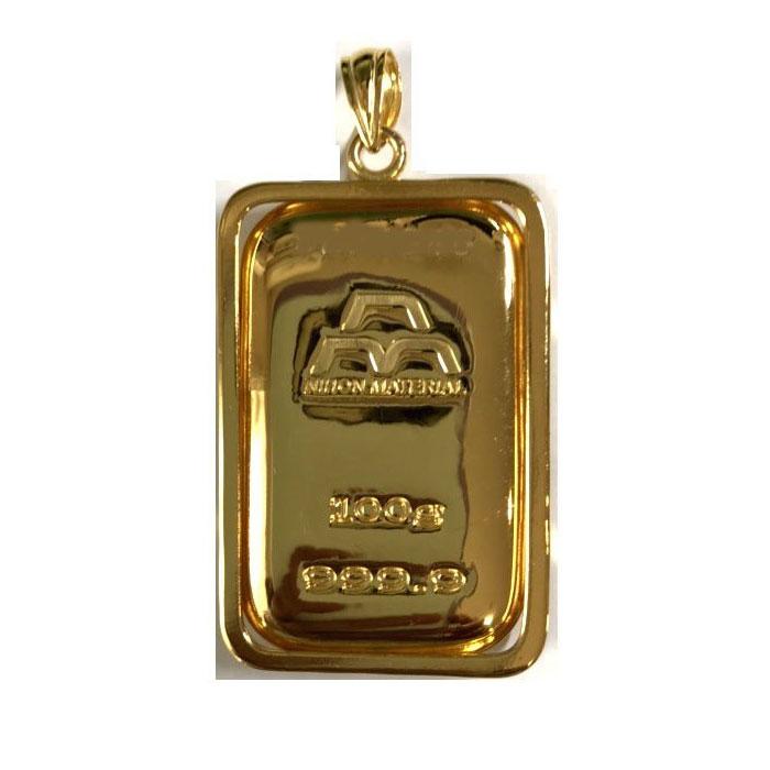 【あすつく対応】24金 純金 インゴット INGOT [日本マテリアル 純金 インゴット 100g] モールドタイプ ゴールドバー+専用ペンダント枠(シルバー925)