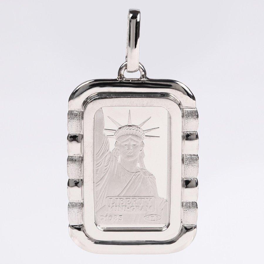 純プラチナ インゴット リバティ 2g ペンダントトップ クレジット スイス 自由の女神 デザイン枠