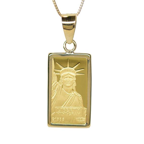 リバティコイン K24(純金 K24) 1g リバティコイン インゴット 自由の女神 K18枠付きペンダントトップ