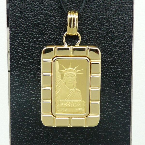 リバティコイン K24(純金 K24) 2g リバティコイン インゴット 自由の女神  K18枠付きペンダントトップ
