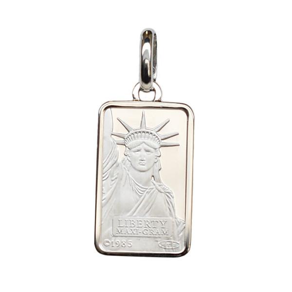送料無料 リバティコイン Pt999.5 純プラチナ 正規品 Pt850枠付きペンダントトップ 5g インゴット お気に入 自由の女神