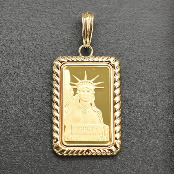 【送料無料】24金 インゴット INGOT リバティコイン K24(純金) 10g リバティコイン 自由の女神 K18枠付きペンダントトップ