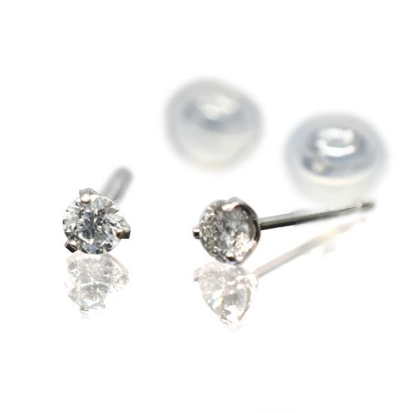 プラチナ シンプル3本爪タイプ ダイヤモンドピアス 直径3.3mm ダイヤ 0.3ct