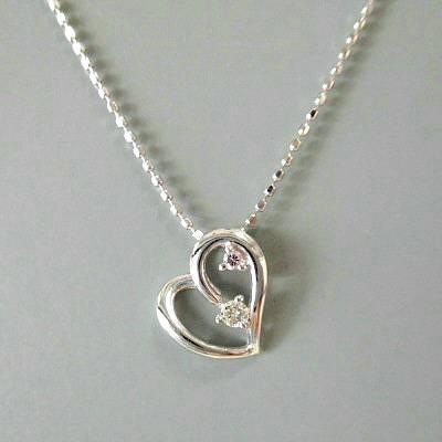 K18WG ダイヤモンド0.040ct ネックレス