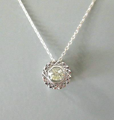 K18WG ダイヤモンド0.100ct ネックレス
