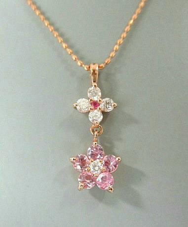 K18PG  ピンクサファイヤ ルビー ダイヤモンド ネックレス