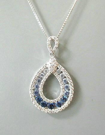K18WG サファイヤ0.600ct/ダイヤモンド0.430ct ネックレス