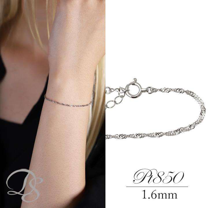 プラチナ ブレスレット platinum スクリューチェーン 1.6mm幅誕生日 ギフト プレゼント 贈り物 妻 彼女 シンプルDEVAS ディーヴァス 【送料無料】