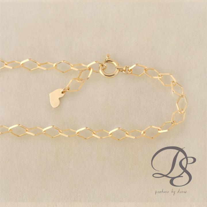 ゴールド ブレスレット レディース k18 18金 大きめのひし形デザインチェーン ブレスレット プレゼント DEVAS ディーヴァス