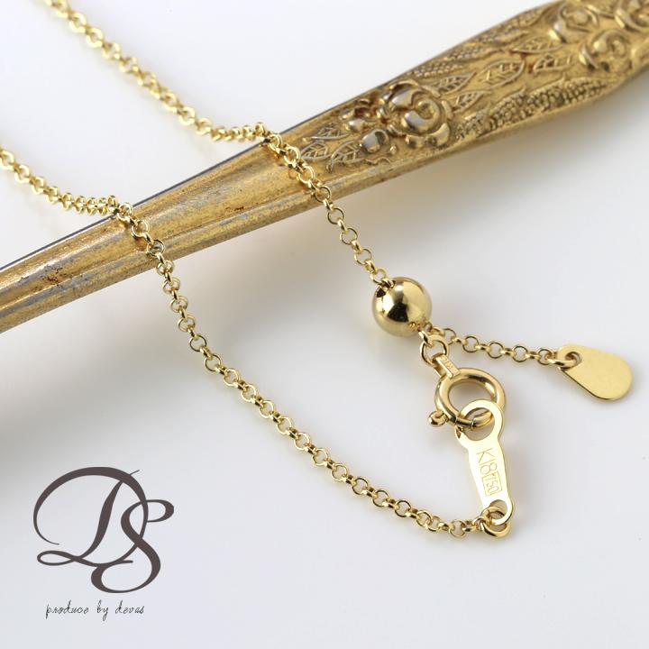 ゴールド ネックレス18K ネックレス チェーン K18 ラウンドチェーン 1.3m幅(全長45cm) 18金 ネックレス レディース プレゼント DEVAS ディーヴァス