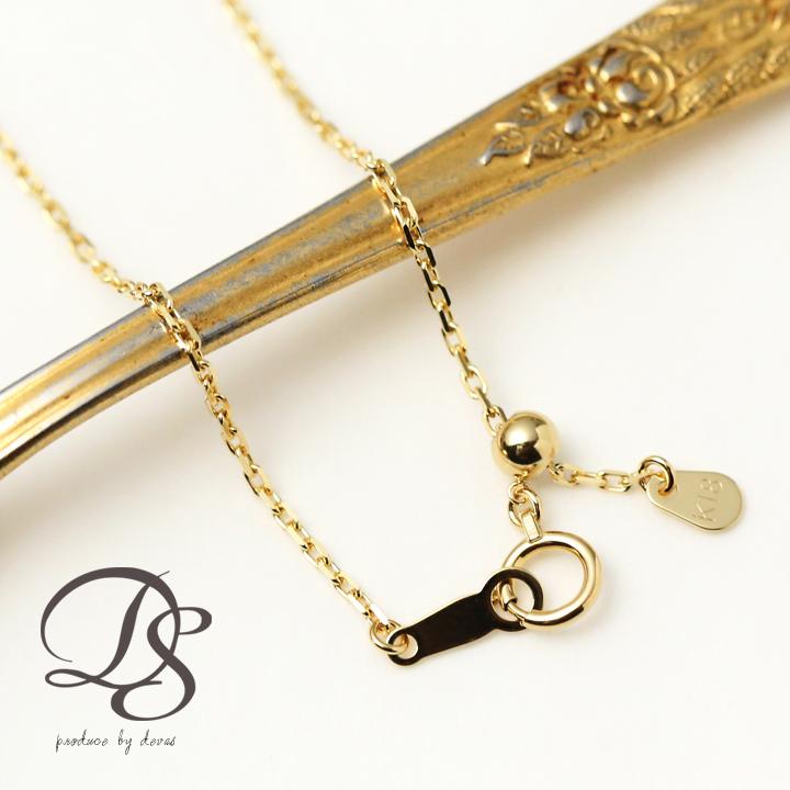 K18 ネックレスネックレス チェーン あずき幅1.3mm18金 18k ゴールド ネックレス レディース ゴールドネックレス プレゼント DEVAS ディーヴァス
