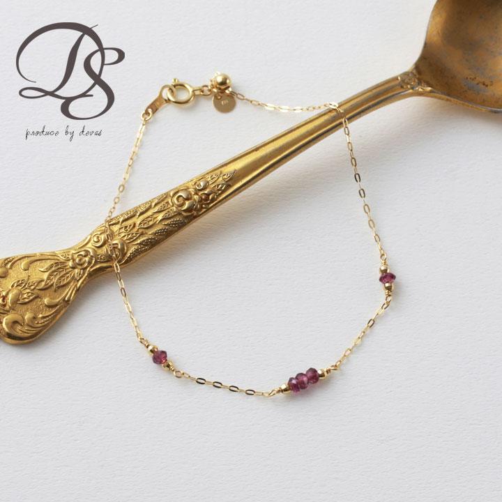 18金 ゴールド ブレスレットレディース フリースライド天然石 ガーネット 誕生石 K18 18K   プレゼント DEVAS ディーヴァス