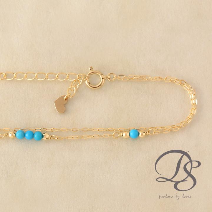 18金 ゴールド ブレスレット2連ブレスレット レディース天然石 ターコイズ K18 18K   プレゼント DEVAS ディーヴァス