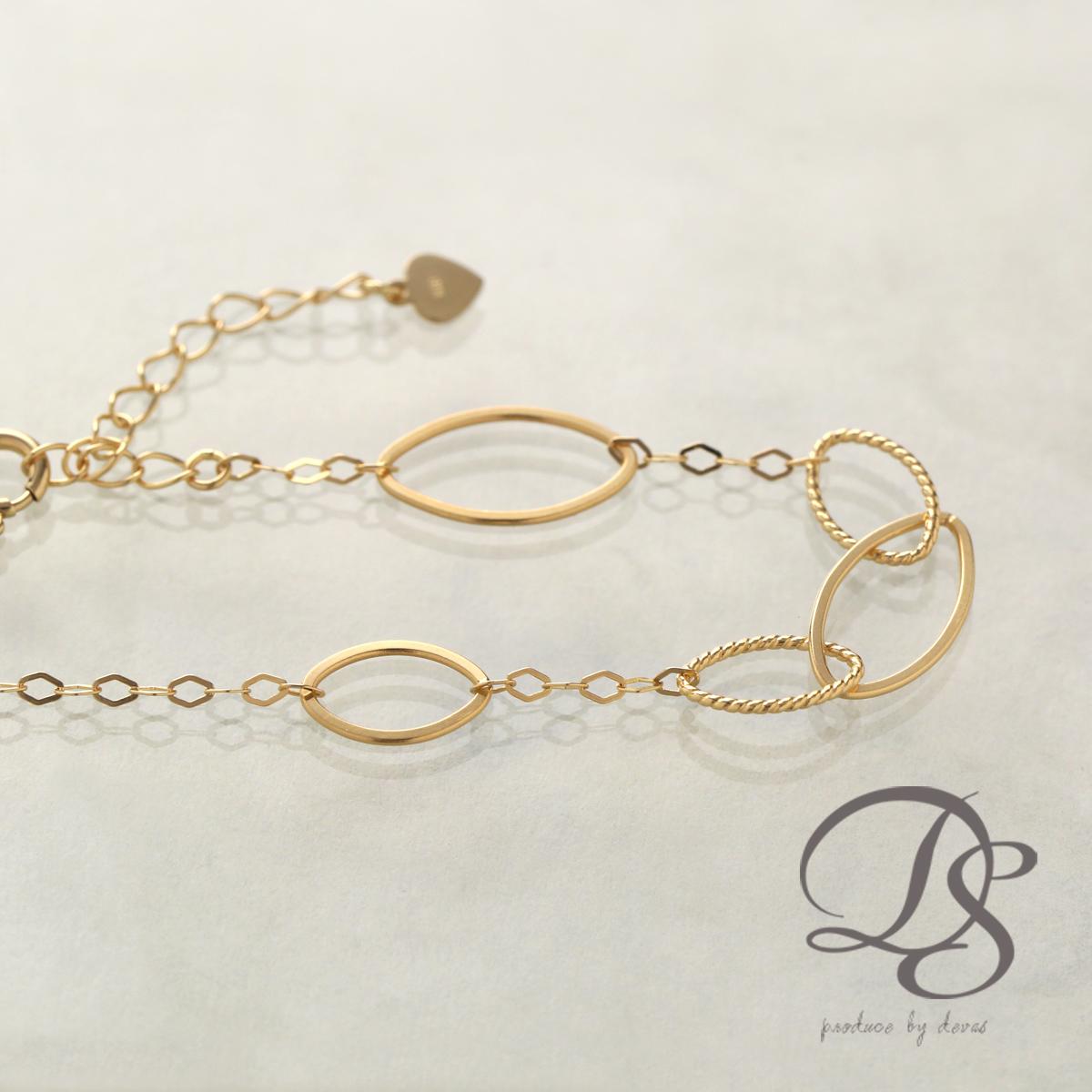 ゴールド ブレスレット レディース k18 18金大小のマーキス型 デザインチェーン ブレスレット  プレゼント DEVAS ディーヴァス