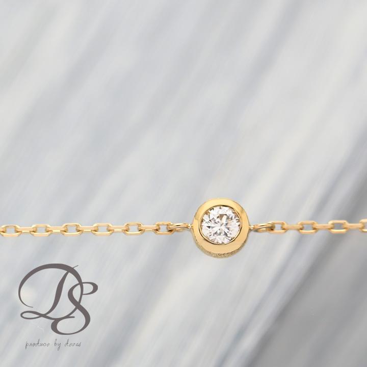 ゴールド ブレスレット レディース k18 18金ダイヤモンド 0.1ct ブレスレット 一粒ダイヤ  プレゼント DEVAS ディーヴァス