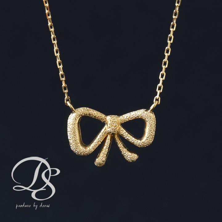 K18 ゴールド ネックレス リボン レディース  プレゼント DEVAS ディーヴァス リボン ネックレス k18 ネックレス 18k ネックレス 18金 ネックレス