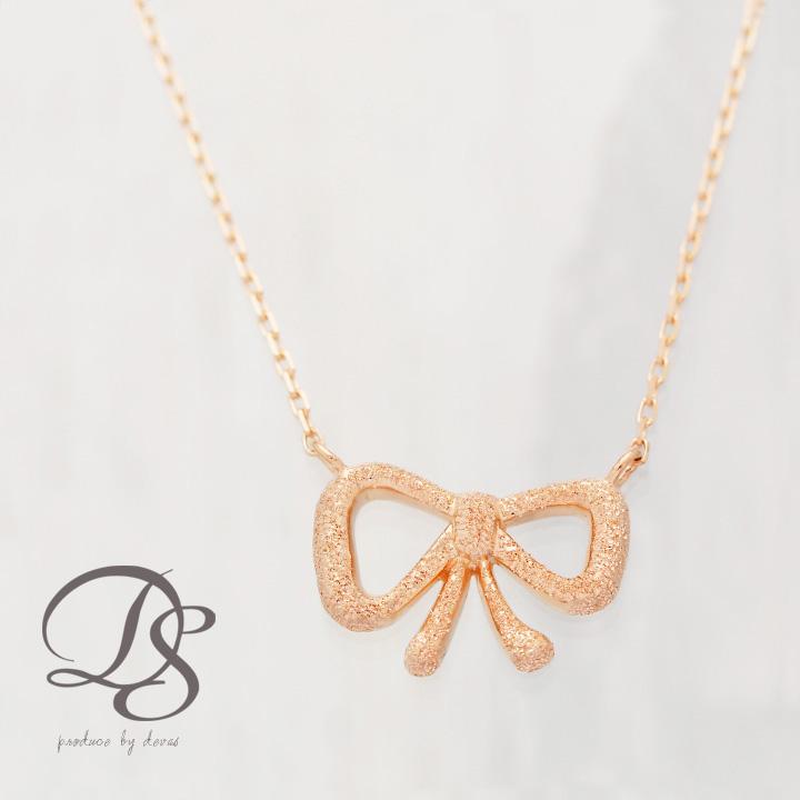 ピンクゴールド ネックレス レディース  プレゼント DEVAS ディーヴァス リボン ネックレス k18 PG ネックレス