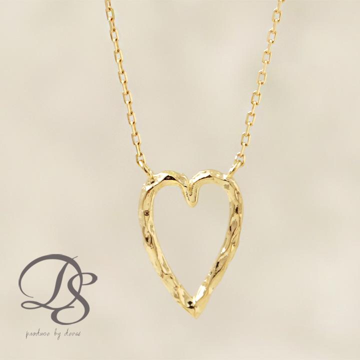 ゴールド ネックレス レディース k18 18金オープンハート 縦長デザイン ネックレス  プレゼント DEVAS ディーヴァス