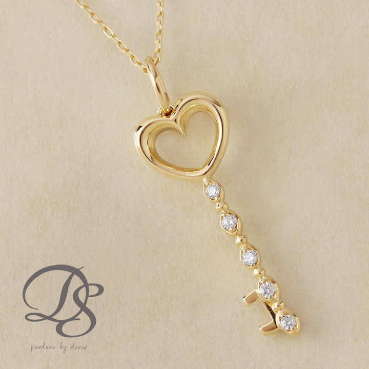 DEVAS ディーヴァス ダイヤモンドネックレス レディース 18金 ネックレス あずきチェーン 幅0.9mm ゴールドネックレス アクセサリ 鍵モチーフ キーモチーフ レディースネックレス アクセサリー 可愛い かわいい おしゃれ
