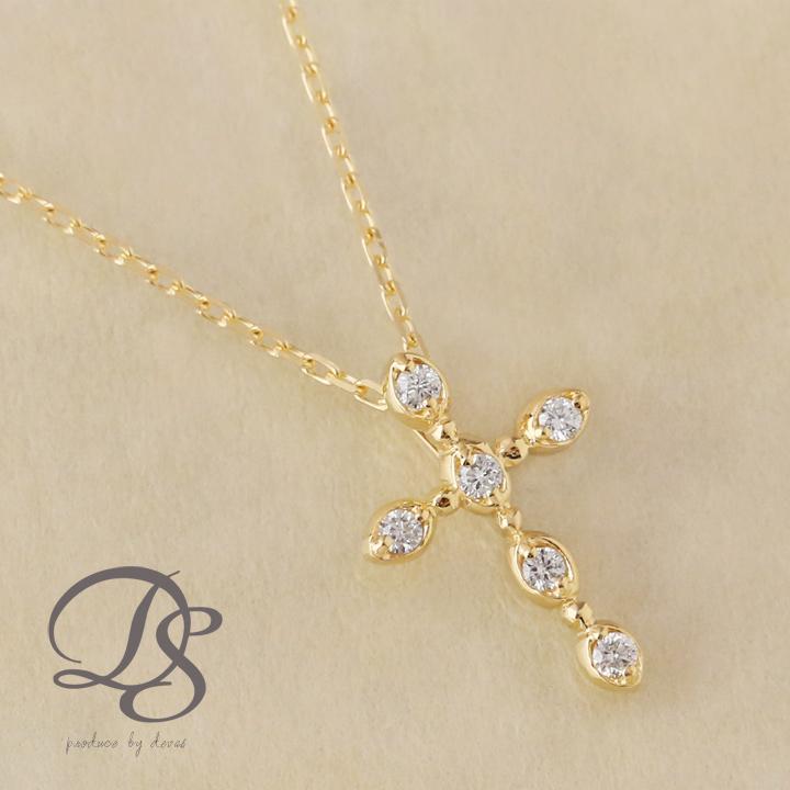 ゴールド ネックレス レディース k18 18金クロス ダイヤモンド ネックレス  プレゼント DEVAS ディーヴァス