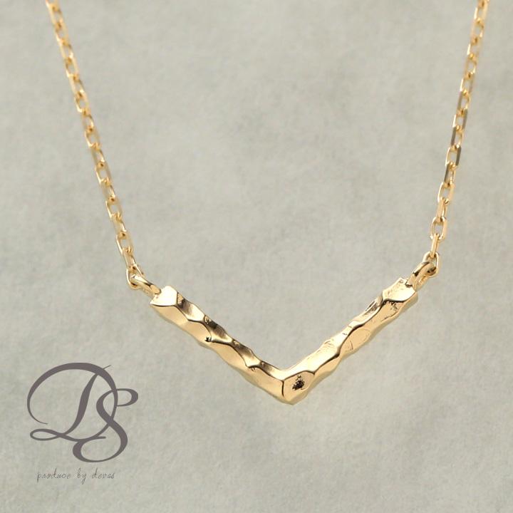 ゴールド ネックレス レディース k18 18金【Vバー】 ネックレス シンプルなデザイン  プレゼント DEVAS ディーヴァス