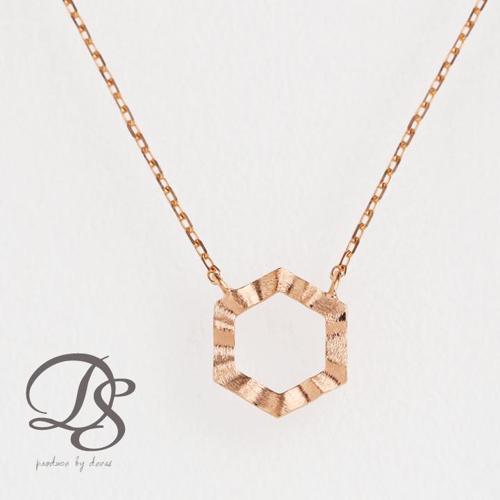 ピンクゴールド ネックレス六角形 ヘキサゴン レディース 18金 18k PG プレゼント DEVAS ディーヴァス