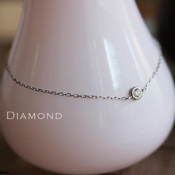 ホワイトゴールド ブレスレット レディース k18 18金 WHダイヤモンド 0.1ct ブレスレット 一粒ダイヤ  プレゼント DEVAS ディーヴァス