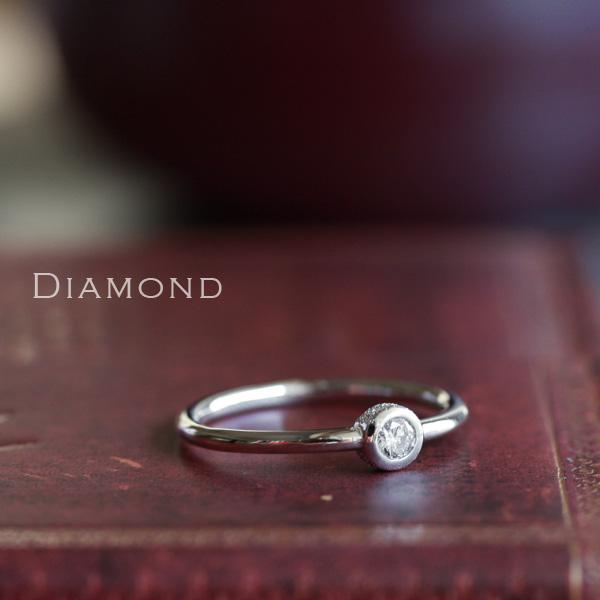 ホワイトゴールド リング レディース k18 18金 18Kダイヤモンド0.1ct リング 一粒ダイヤ  プレゼント DEVAS ディーヴァス