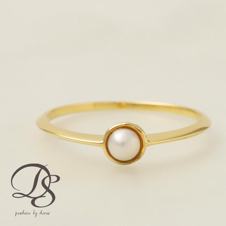 ゴールド リング レディース k18 18金アコヤパール 本真珠(3.5mm) 1本で存在感のあるゴールドリング♪  プレゼント DEVAS ディーヴァス