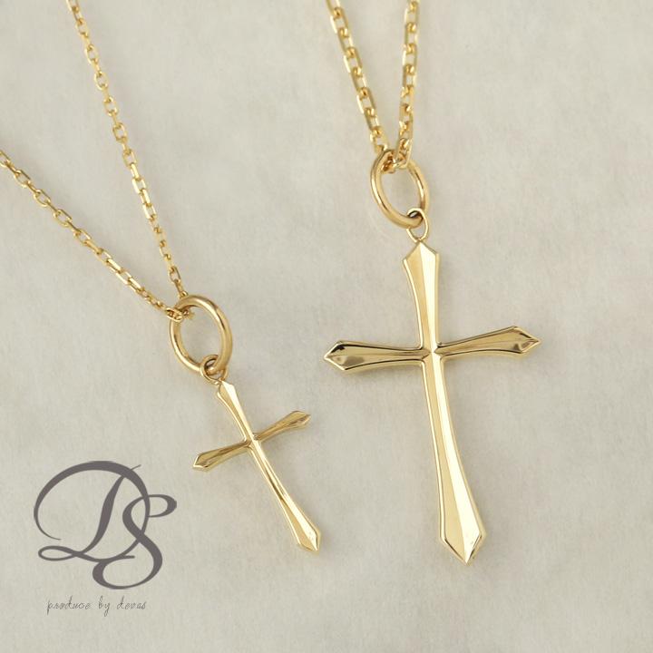 K18 ゴールド ペア ネックレス クロス エッジデザイン 十字架 レディース メンズ 18K 18金  プレゼント DEVAS ディーヴァス 12pair