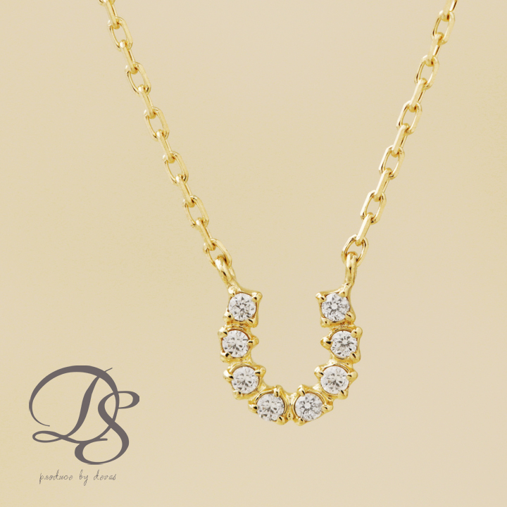 馬蹄 ネックレス ゴールド k18 18金 ネックレス レディース 8石 ダイヤモンド gold necklaceプチネックレス 誕生日 プレゼント ギフト ジュエリー 彼女 妻 かわいいDEVAS ディーヴァス 【送料無料】