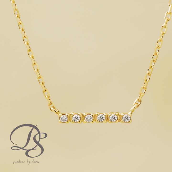 ネックレス ゴールド k18 18金 ネックレス レディース バー 6石 ダイヤモンド gold necklaceプチネックレス 誕生日 プレゼント ギフト ジュエリー 彼女 妻 かわいいDEVAS ディーヴァス 【送料無料】