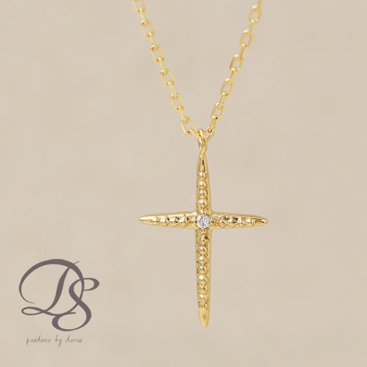 ネックレス クロス プチネックレス K18 ゴールド ダイヤモンド 1石 ミル打ち レディース 18K 18金  プレゼント DEVAS ディーヴァス