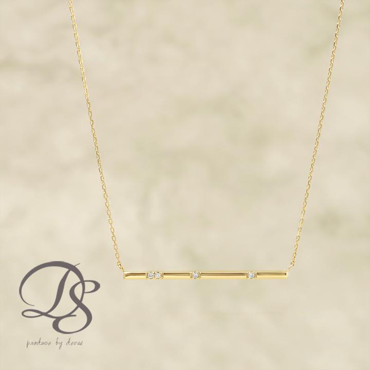 ネックレス ゴールド k18 18金 ネックレス レディース gold necklaceチョコバー(ショート) 4石 ダイヤモンド誕生日 プレゼント ギフト ジュエリー 彼女 妻 かわいいDEVAS ディーヴァス 【送料無料】