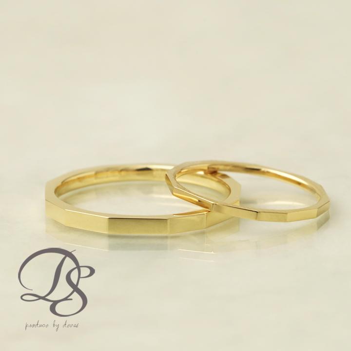 K18 ゴールド ペアリング 2本セット 18金 18k リング カット 長方形 レディース メンズ 結婚指輪 マリッジリング 誕生日 プレゼント 贈り物 妻 彼女 かわいい ゴールドリング ペア ジュエリー ペアアクセサリー プレゼント DEVAS ディーヴァス 1012b