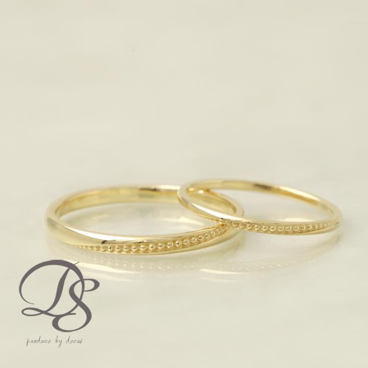 K18 ゴールド ペアリング 18金 18k リング ミルグレイン ミル打ちレディース メンズ 結婚指輪 マリッジリング 誕生日 プレゼント 贈り物 妻 彼女 かわいい ゴールドリング ペア ジュエリー ペアアクセサリー プレゼント DEVAS ディーヴァス 1012b