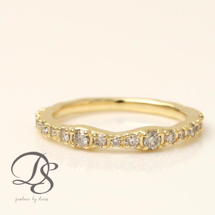 リング k18 レディースダイヤモンド ハーフエタニティゴールド 18k 18金 誕生日 プレゼント ギフト 妻 彼女 女性ダイヤモンドリング ゴールドリング 指輪 おしゃれ かわいい DEVAS